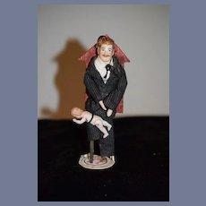Old Doll Miniature Bisque Mustache Man Dollhouse Peddler Baby Sitter W/ Miniature All Bisque Dolls