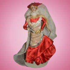 Old Wonderful Miniature Doll Cloth Doll Dollhouse Lady Wonderful Costume Stockinette