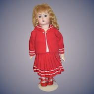 "Wonderful Doll Artist Made Sailor Dress and Jacket & Matching Shoes For Bisque 11"" Doll"