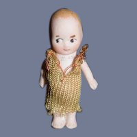 Old Miniature Doll All Bisque Jointed Arms Character Side Glancing Eyes Dollhouse