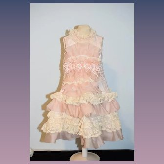 Old Doll Dress Drop Waist Lace Flowers Ribbons Beads FANCY Screams FRENCH