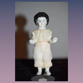 Antique Doll Frozen Charlotte Petite Size Cabinet Size China Head Dollhouse Miniature