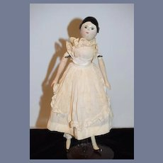 Old Carved Wood Doll W/ Old Label