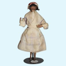 Old Doll Miniature Wood Black Dollhouse Doll