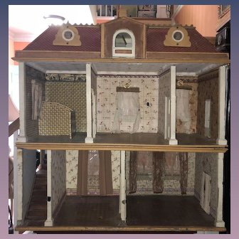 Antique HUGE Dollhouse Wood & Litho For Miniature Dolls Dormers and Attic