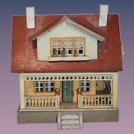 Antique Doll Wood Litho Dollhouse Wonderful Size Wrap Around Porch Two Story