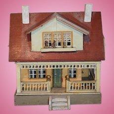 Antique Doll Wood Litho Dollhouse Wonderful Size Wrap Around Porch Two Story