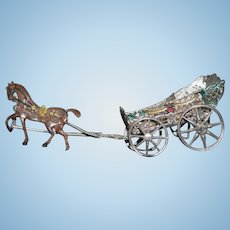 Antique Doll Miniature Soft Metal Horse Pulling Doll Carriage Buggy Dollhouse