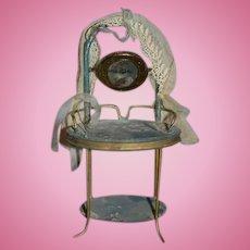 Antique Miniature Tin Vanity W/ Mirror Swivel Dollhouse
