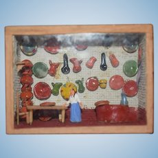Old Doll Miniature Diorama Dollhouse Store Pottery Shop