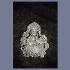 Old Doll Three Dimensional Art Nouveau  Lady Wall Hanging Metal Ornate Miniature Dollhouse