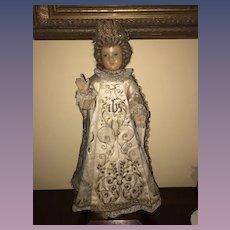 Antique Doll Wax Creche Religious Icon Wonderful Original Clothing Glass Eyes