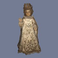 Antique Doll Wax Creche Religious Icon Wonderful Original Clothing Glass Eyes Infant of Prague