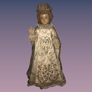 Antique Doll Wax Creche Religious Icon Wonderful Original Clothing Glass Eyes