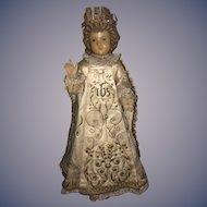 Antique Doll Wax Creche Religious Icon Wonderful Original Clothing Glass Eyes Infant of Prague