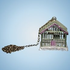 Old Doll Miniature Metal Bird Cage Dollhouse W/ Bird On Perch Birdcage