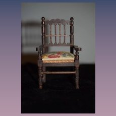 Old Doll German Ornate Wood Arm Chair W/ Cane Bottom Seat and Petit Point Seat Cushion Miniature Dollhouse