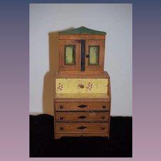 Old Doll Miniature Folk Art Secretary Step Back Cupboard Wood Painted Glass Top