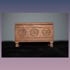 Old Wood Miniature Doll Carved Wood Trunk Chest Sweet! Hinged Folk Art: