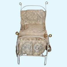 Old Wrought Iron Doll Bed Miniature Ornate W/ Bedding Dollhouse