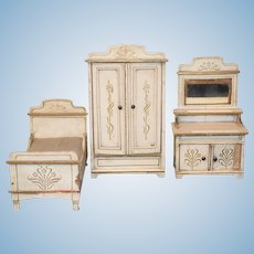 Antique Doll Miniature Bedroom Set Bed Wardrobe Vanity Tole Painted Dollhouse