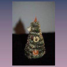 Old Doll Miniature Christmas Tree Dollhouse Fancy W/ Old Ornaments Sweet!