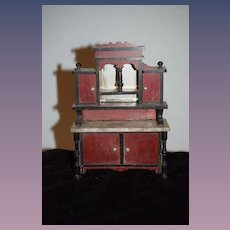 Old Doll Wood Marble Top Cabinet W/ Mirror Fancy Miniature Dollhouse