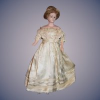 Old Wax Doll Fashion Lady Glass Eyes Wonderful