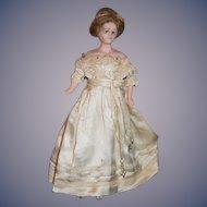 Old Wax Doll Fashion Lady Glass Eyes Wonderful