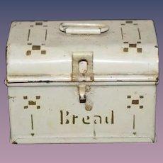 Old Doll German Tin Miniature Bread Box Dollhouse Sweet!