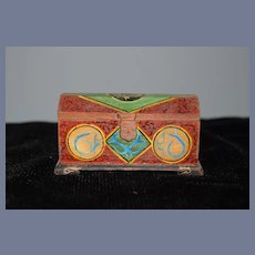 Wonderful Doll Miniature Hand Painted Trunk Dome Top Artist Signed
