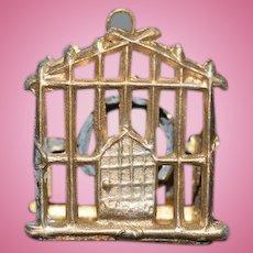 Old Doll Miniature Birdcage Bird Cage Metal W/ Bird on Swing Dollhouse