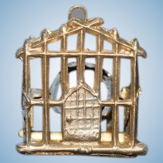 Old Doll Miniature Birdcage Bird Cage Metal W/ Bird on Swing Dollhouse