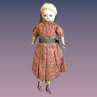 Antique Doll Petite Size Papier Mache & Wood Cloth Doll