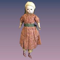 Antique Doll Petite Size Papier Mache & Wood Cloth Doll