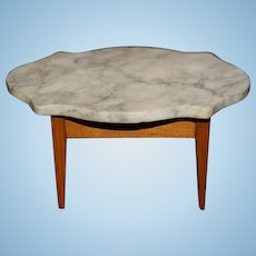 Old Doll Miniature Marble Top Wood Table Dollhouse