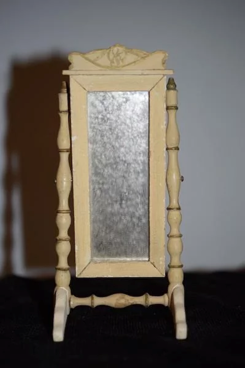 Miniature Oval Swing Dressing Mirror in Brass Stand Dolls House Accessories