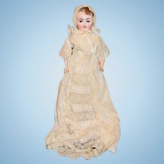 Antique Doll Bisque Head Two Face Doll Antique Lace Christening Gown and Bonnet Glass Eyes GORGEOUS W/ Crier