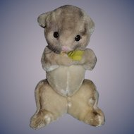 Vintage Doll Toy Rabbit Stuffed Animal Holding Flowers Clare Creations Inc. New York