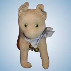 Old Wonderful Velveteen Dog Glass Eyes Straw Stuffed Doll Toy