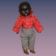 Antique Doll Black Composition Side Glancing Eyes Adorable