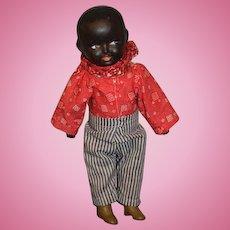 Antique Doll Black Composition Side Glancing Eyes Adorable