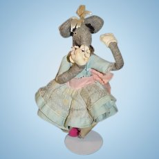 Vintage Felt Mouse Large Dressed Mrs. Mouse Cloth Doll