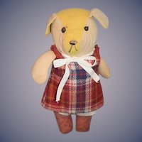 Old Cloth Dog Doll Toy Stuffed Dog Dressed Made in Italy