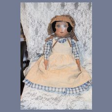 """Artist Doll Large Cloth Doll Signed M. Burkett  Sweet Doll Signed & Dated 28"""" Tall Gorgeous"""