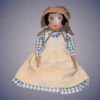 "Artist Doll Large Cloth Doll Signed M. Burkett  Sweet Doll Signed & Dated 28"" Tall Gorgeous"