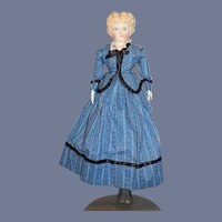 Antique Doll China Head Blonde W/ Wonderful Two Piece Outfit