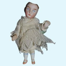 Antique Doll All Bisque Miniature Swivel Head Dollhouse Factory Clothing