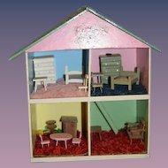 Old Wood Dollhouse Miniature W/ Miniature Furniture Doll