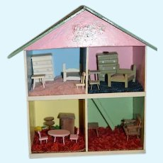 Old Wood Dollhouse Miniature W/ Miniature Furniture Doll